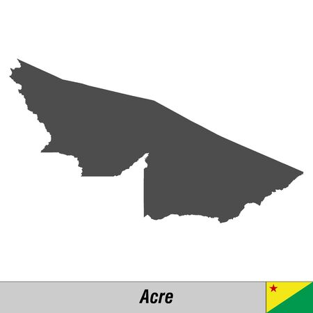 High quality map with flag state of Brazil - Acre