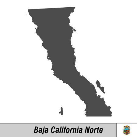 Mapa de alta calidad con el estado del pabellón de México - Baja California Norte Ilustración de vector