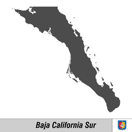 Mapa de alta calidad con el estado del pabellón de México - Baja California Sur