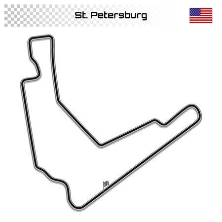 St. Petersburg circuit for motorsport and autosport.American grand prix race track. 일러스트