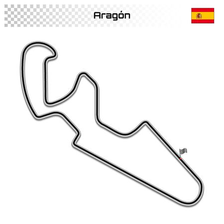 Aragon circuit for motorsport and autosport. Spanish grand prix race track. Foto de archivo - 134672285