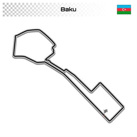 Baku circuit for motorsport and autosport. Azerbaijan grand prix race track. Foto de archivo - 134672281