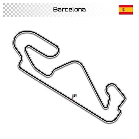 Barcelona circuit for motorsport and autosport. Spanish grand prix race track. 일러스트