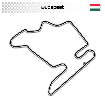 Budapest circuit for motorsport and autosport. Hungarian grand prix race track. 일러스트