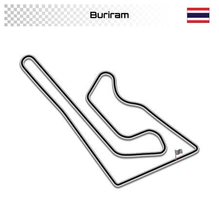 Buriram-Rennstrecke für Motorsport und Autosport. Thailand-Grand-Prix-Rennstrecke. Vektorgrafik