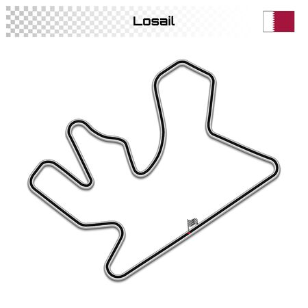 Losail circuit for motorsport and autosport. Qatar grand prix race track. Ilustrace