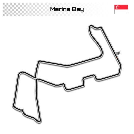 Marina Bay circuit for motorsport and autosport. Singapore grand prix race track. 일러스트