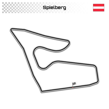 Spielberg circuit for motorsport and autosport. Austrian grand prix race track. 일러스트