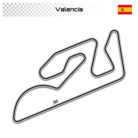 Cheste circuit for motorsport and autosport. Valencian grand prix race track. Ilustrace