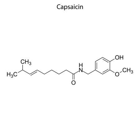 Skeletal formula of Capsaicin. Chemical molecule. Ilustrace
