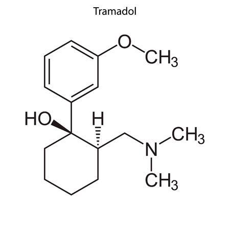 Skeletal formula of Tramadol. Chemical molecule.