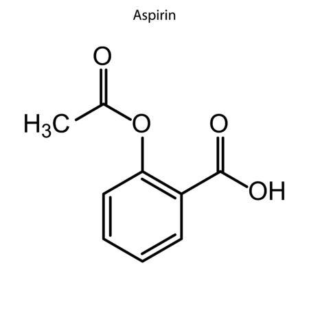 Skeletal formula of Aspirin. Chemical molecule.