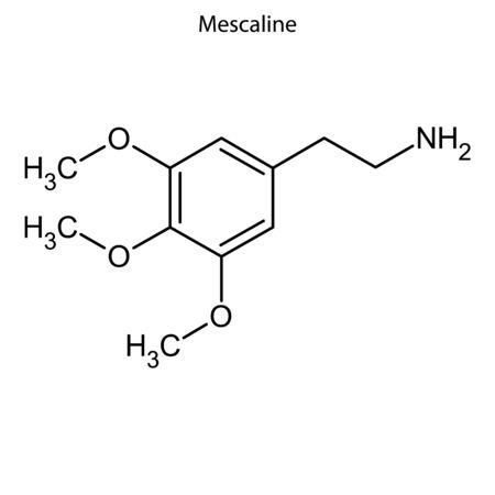 Skeletal formula of Mescaline. Chemical molecule.