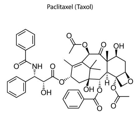 Skeletal formula of Paclitaxel (Taxol). Chemical molecule. Çizim