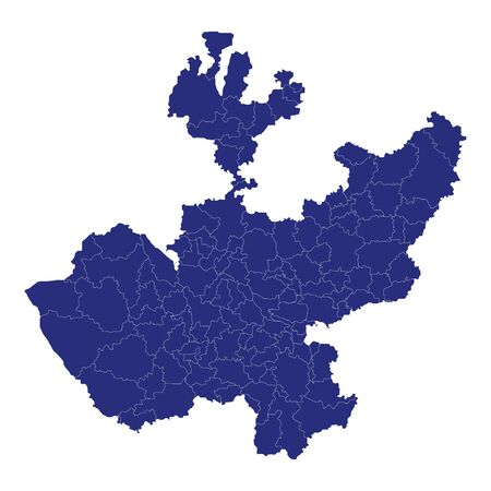 High Quality map of Jalisco is a state of Mexico, with borders of the municipalities