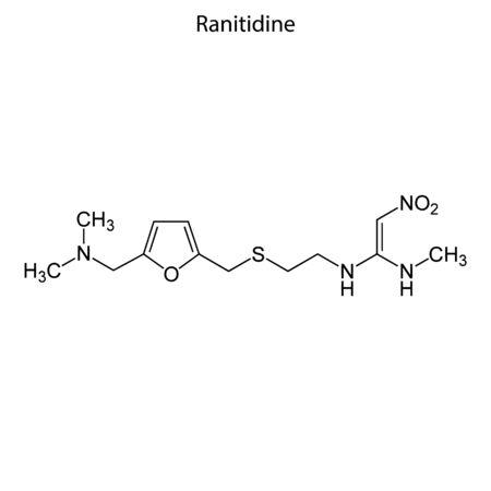 Skeletal formula of Ranitidine. Chemical molecule. Çizim