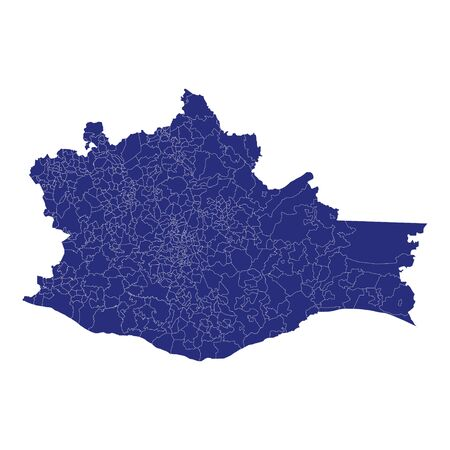 High Quality map of Oaxaca is a state of Mexico, with borders of the municipalities Ilustração Vetorial