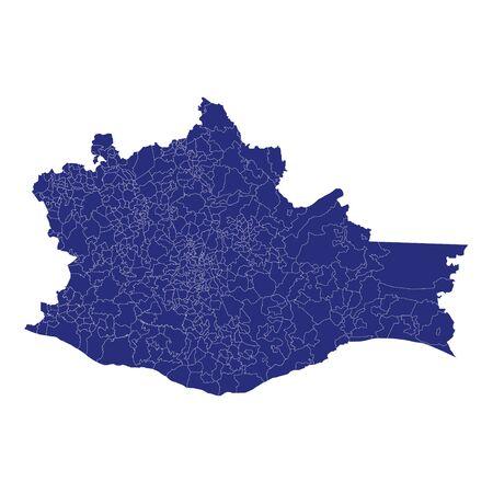 La mappa di alta qualità di Oaxaca è uno stato del Messico, con i confini dei comuni Vettoriali
