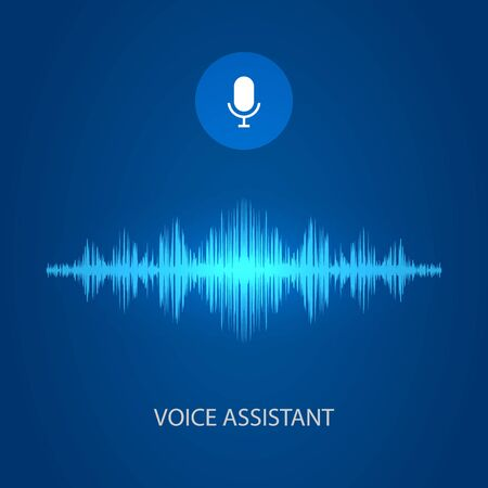 Personal voice assistant soundwave, sound wave and microphone icon. vector illustration Illustration