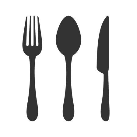 Ikona nóż, widelec i łyżka. Znak restauracji