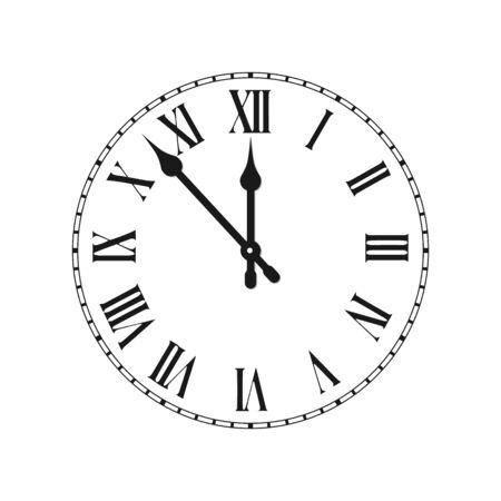 Esfera de reloj con hora de números romanos