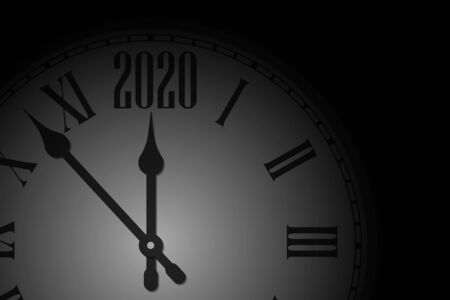 Happy New Year 2020 celebrate banner with clock