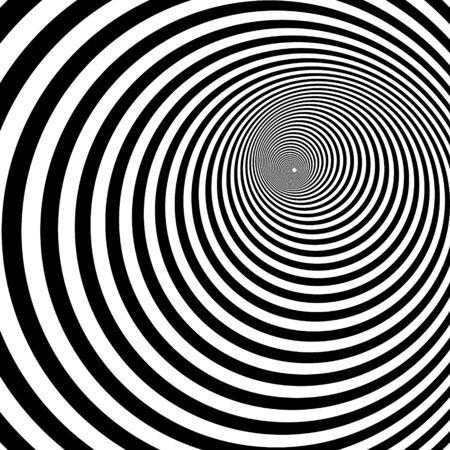 Spirale psychédélique avec rayons radiaux, tourbillon, arrière-plans vortex. Spirale hypnotique