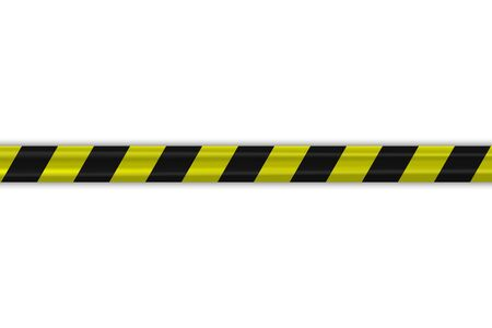Caution police black and yellow striped borders vector illustration. Border stripe web, warning banner