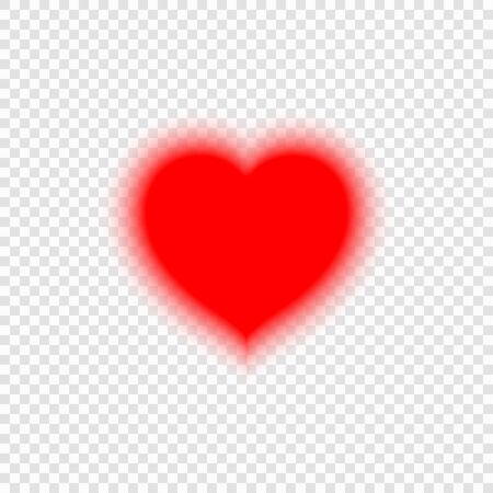 Bright neon heart. Blur heart sign on transparent background.