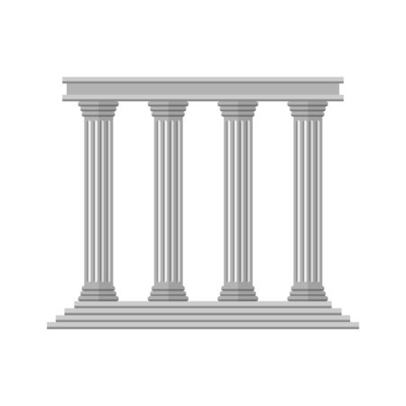 Flat retro Ancient Columns isolated Vektorgrafik