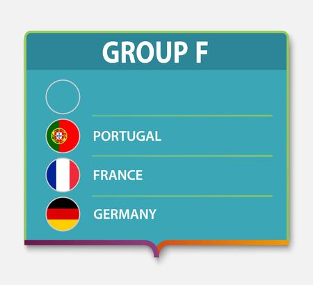 European football tournament group F. 2020 Euro soccer championship flag Banco de Imagens - 139621938
