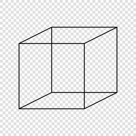 Necker cube optical illusion. Vector illustration