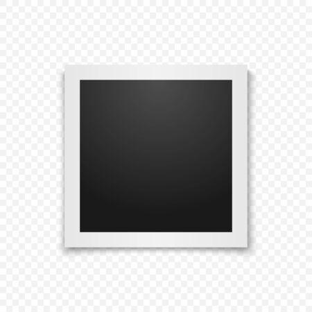 Realistic vector photo frame. Template photo design. Vector Vektorové ilustrace