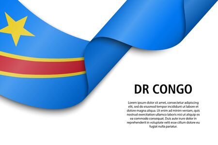 Waving ribbon or banner with flag of DR Congo. Template for independence day poster design