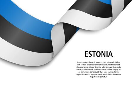 Waving ribbon or banner with flag of Estonia. Template for independence day poster design