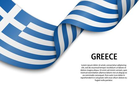 Waving ribbon or banner with flag of Greece. Template for independence day poster design