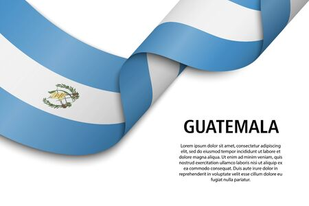 Waving ribbon or banner with flag of Guatemala. Template for independence day poster design Vetores