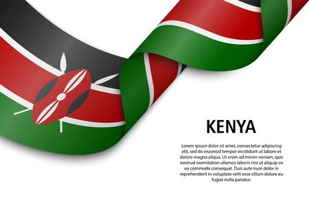 Waving ribbon or banner with flag of Kenya. Template for independence day poster design