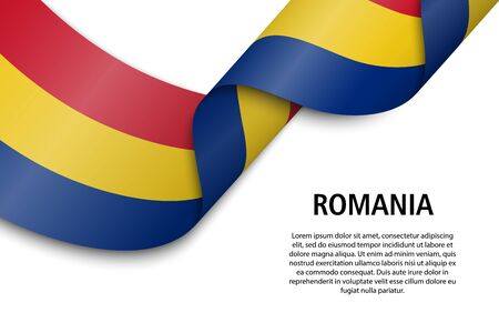 Waving ribbon or banner with flag of Romania. Template for independence day poster design