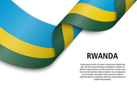 Waving ribbon or banner with flag of Rwanda. Template for independence day poster design