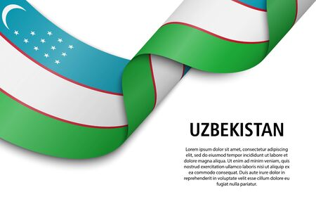 Waving ribbon or banner with flag of Uzbekistan. Template for independence day poster design