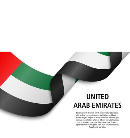 Waving ribbon or banner with flag of United Arab Emirates. Template for independence day poster design 일러스트