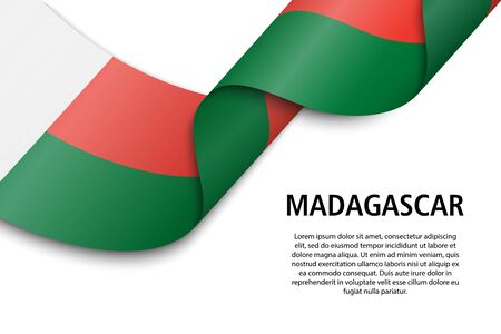 Waving ribbon or banner with flag of Madagascar. Template for independence day poster design Фото со стока - 139557810
