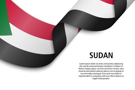 Waving ribbon or banner with flag of Sudan. Template for independence day poster design Illustration