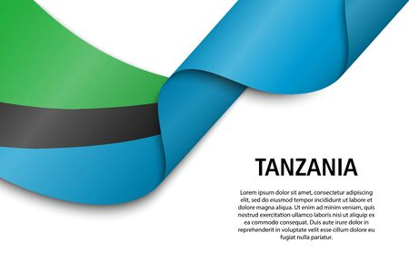Waving ribbon or banner with flag of Tanzania. Template for independence day poster design
