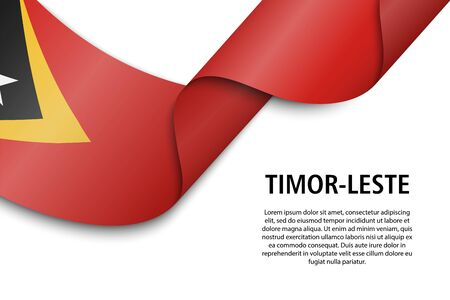 Waving ribbon or banner with flag of Timor-Leste. Template for independence day poster design