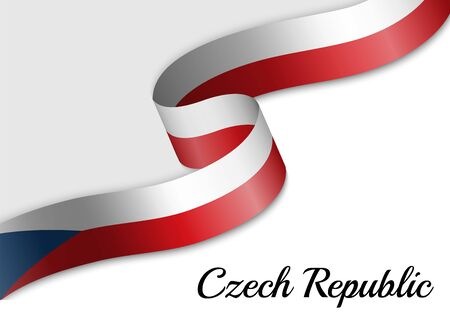 waving ribbon flag of Czech Republic. Template for independence day banner 矢量图像