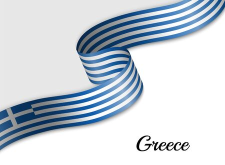 waving ribbon flag of Greece. Template for independence day banner