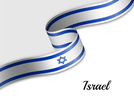 waving ribbon flag of Israel. Template for independence day banner