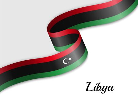 waving ribbon flag of Libya. Template for independence day banner Illustration
